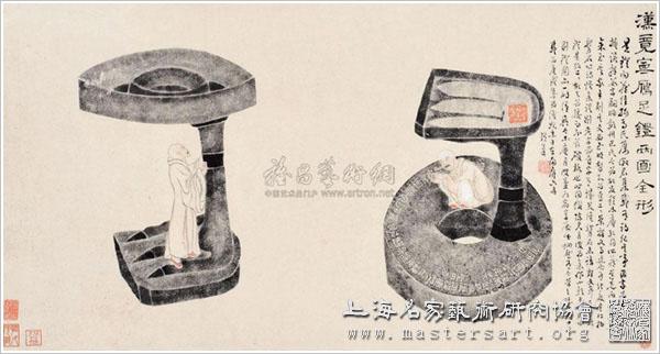 汉竟宁雁足灯全形拓—六舟剔灯图 (一轴)