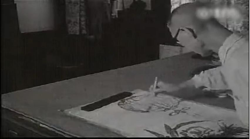 潘天寿珍贵视频,看大师怎么作画的