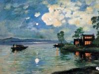 他是中国第一代油画家,笔下的月色山水真美!